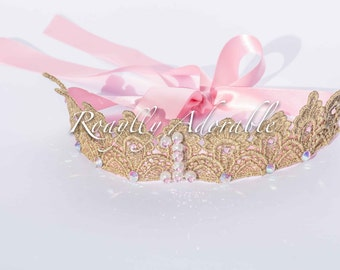 Gold and Pink First Birthday One Crown Tiara