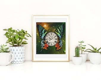Butterfly Print - Butterfly Poster - Butterfly Wall Art - Clock Print - Clock Poster - Clock Wall Art