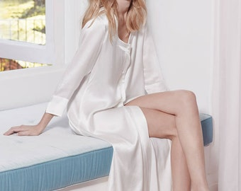 Glamorous Silk Robe with Pearl Shaped Buttons