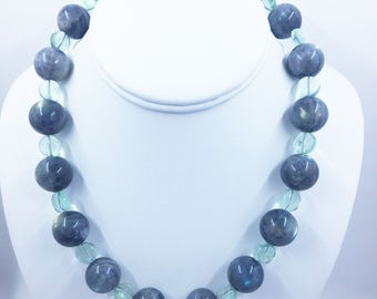 Labradorite 17mm Necklace with Fluorite Coin Beads and a Sterling Silver Hook and Eye Clasp
