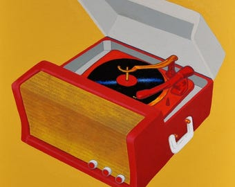 """Original Acrylic Painting Wall Art Pop Art 24"""" x 30""""x 1 1/2"""" Stretched Canvas Frame Yellow, Red Retro Record Player"""