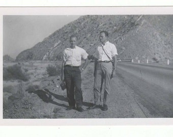"""Vintage photo """"Palm Springs walking the new road"""" Found photo, vernacular, snapshot, mixed media, scrapbook, antique photo M65"""