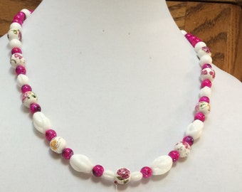 Hot Pink and White Necklace with Rose and Matching Earrings,Jewelry for any occasion,Birthday gift, perfect for a wedding >>(SALE 20% off)<<