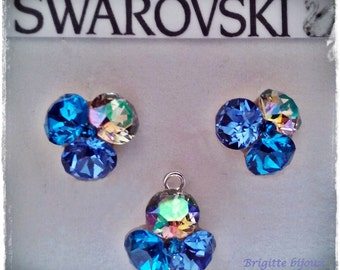 swarovski sterling silver set - earrings and pendant