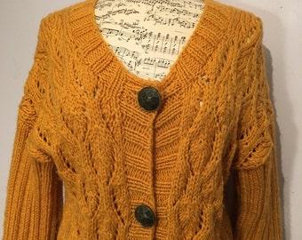 Vintage 1980s Mustard Yellow Handmade Chunky Knit Oversized Cardigan, Size M