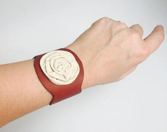 Leather Bracelet Brown and Cream Cuff