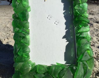 Deep Green Maine Sea Glass Picture Frame