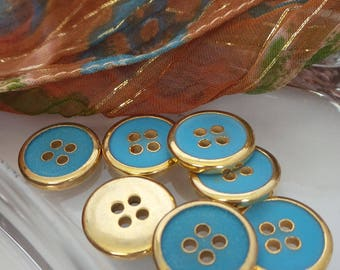 Vintage Blue and Gold Round Buttons