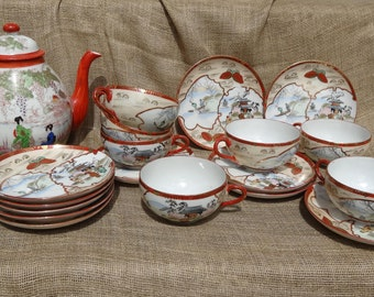 VINTAGE 70 YEARS OLD Asian Japanese 19 Piece China Set Teapot Teacups Cups Saucers Geisha Girls Japan Handpainted 1940s 40s
