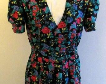 Vintage 80s R.J Stevens Petites Womens Floral Dress