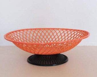 Orange plastic basket, vintage fruit basket, bread basket, vintage basket, grofilex basket, made in france basket