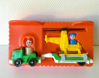Fisher Price helicopter and truck trailer, vintage Fisher Price, copter rig, Fisher Price 344, vintage toy, vintage copter, little trucks