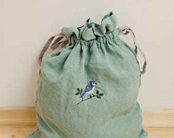 Linen Pouch, Peppermint Green Linen Bag, Hand Stitched Embroidery, Made to Order