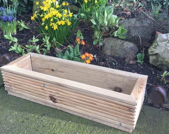 Window box wood patio garden planter herbs flowers (24 x 8 inch 18 litre)