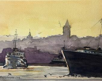 original watercolor istanbul mini art
