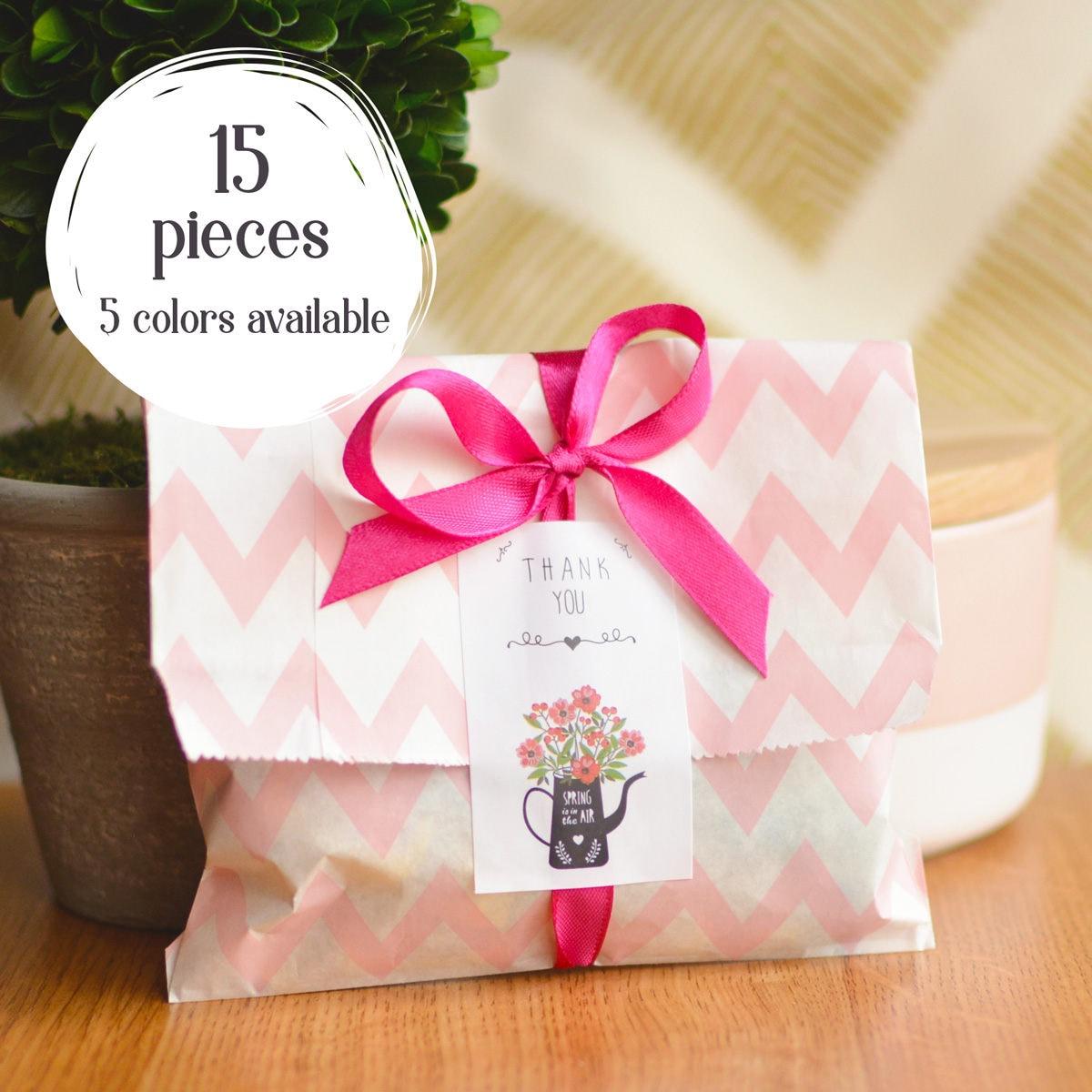 15 Matte 5x7 Chevron Zig Zag Cute Small Party Treat Bags