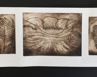 Handmade organic drypoint print