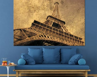 Eiffel Tower French Art,Wall Art Multi Panel Paris France Eiffel Tower Centerpiece Large Canvas Print Ready to Hang.Multi-Sized Canvas print