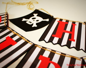 Pirate Birthday Party Banner, Custom Pirate Party Decorations, Pirates of the Caribbean Birthday Decorations