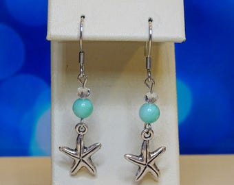 Earrings. Starfish Earrings Turquoise color