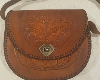 Vintage Bag // Handtooled Leather Boho Purse // Handmade from Cowhide // Plaited Strap with Floral Design