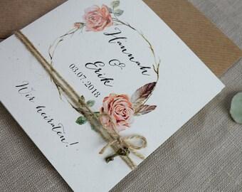 "Vintage wedding invitation card ""Rosy"""