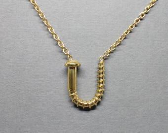 Medium Screw U Necklace, Polished Brass, Round Head, Unisex Jewelry, Brass Screws, Men's Necklace, Women's Necklace
