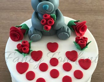 Edible Fondant Teddy with Roses Cake topper Decoration