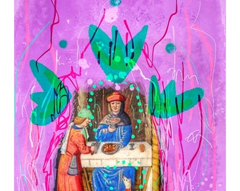 The Magician - Tarot Series Abstract Painting Collage GICLÉE Art Print