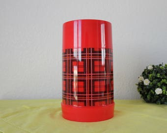 Aladdin Wide Mouth Pint Size Red and Black Plaid Insulated Jar Plastic Thermos Retro