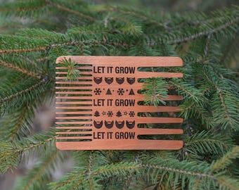 LET IT GROW. Christmas Wooden Gift Comb for Beard Merry Christmas gift idea Christmas Big comb Personalized Gift for Him Husband Boyfriend