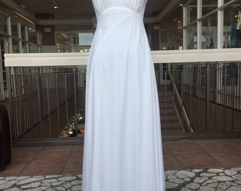 White Vintage Wedding Gown with Intricate High Collar