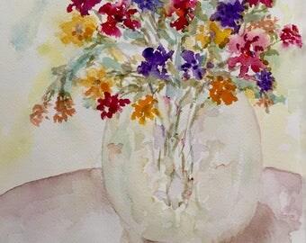Vase of flowers - original watercolor painting