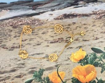 Women's gold K14 bracelet,with four meandros - Greek Motivation