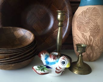 Vintage Hand Painted Bird Candle Holder