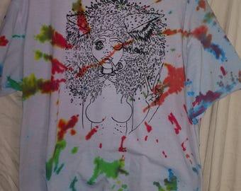 cat girl (m) multi color tie dye tshirts