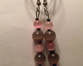 Pink&Brown Pearl Earrings