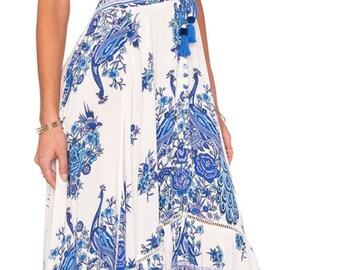 Boho Gypsy Hotel Paradiso Style Maxi Dress Bluebird