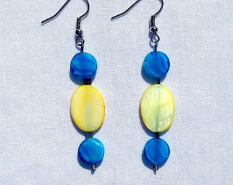 Blue and Green Dangly Earrings