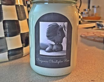 Personalized Photo Hand Poured Soy Wax Candle