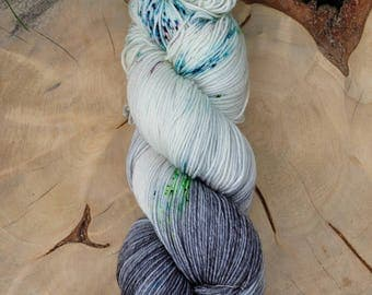 Volcanic Ash in Glacier, hand painted sock yarn, merino superwash