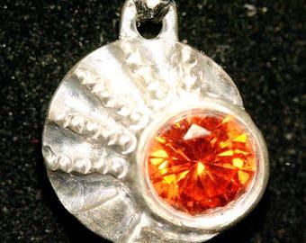 Desert Sunrise Silver Pendant, Silver Metal Clay, Cubic Zirconia