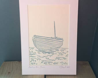 Boat on the Shore (original linocut print)