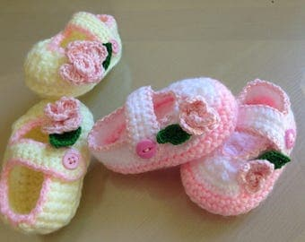 Crocheted hand made baby shoes