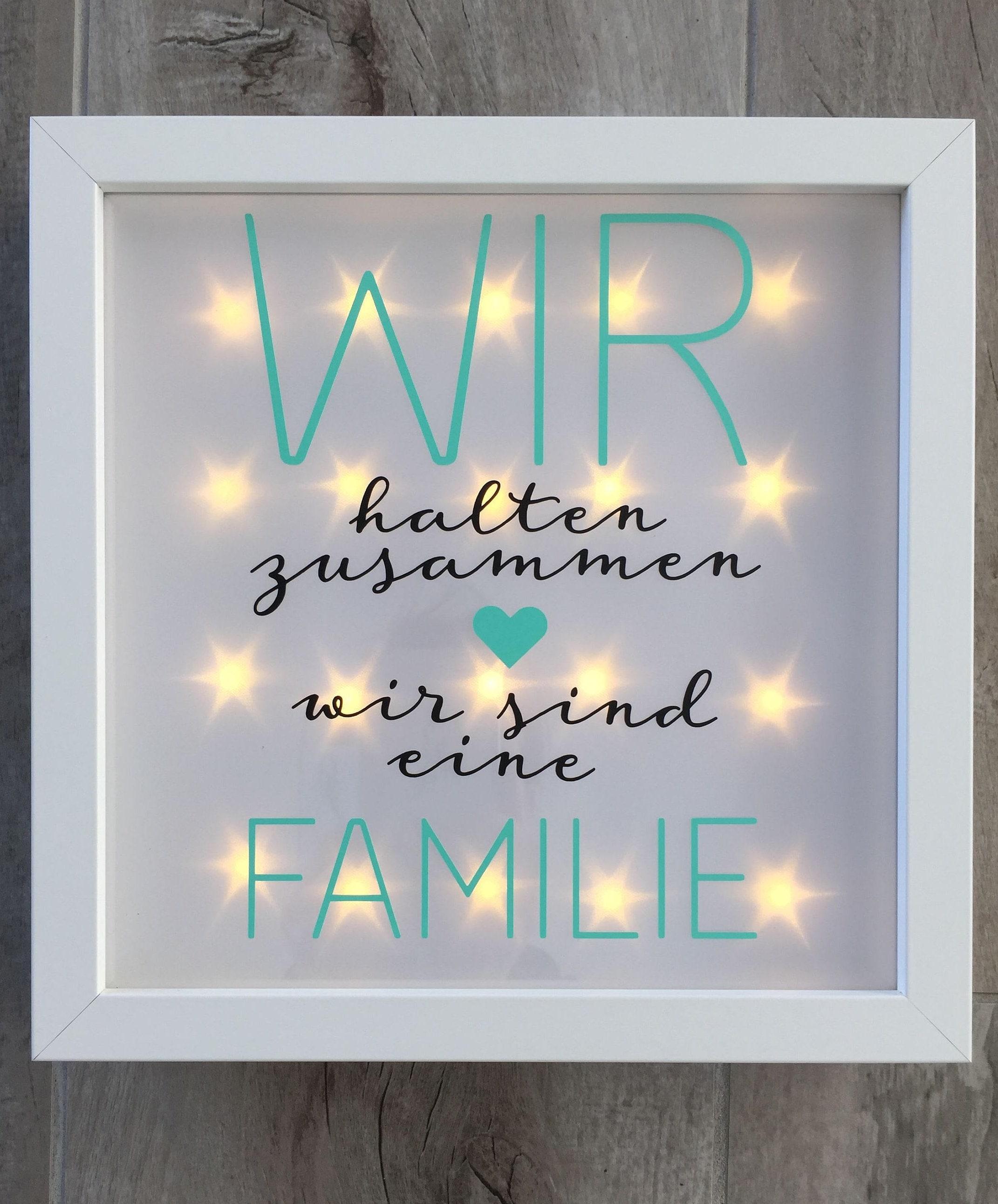 geschenk familie beleuchteter bilderrahmen mit spruch. Black Bedroom Furniture Sets. Home Design Ideas
