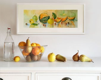 Original Watercolor Painting. Still life with Melon, Lemon, Apple and Nuts. Wall art. Home Decor. Kitchen Decor.