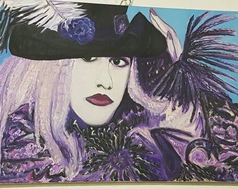 Stevie Nicks Oil Painting on Canvas by Mandie Stone.  Rock Icon Fleetwood Mac White Witch Gypsy