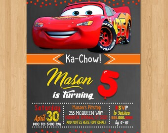 Disney Cars Invite - Chalkboard Red Orange Yellow - Cars Birthday Party Invite - Cars Party Favors - Chalkboard Invite - Lightning Mcqueen