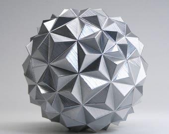 Metallic Silver Geodesic Sphere Silver Geometric Orb Decorative Sphere 5 Inch - Silver Ball Silver Desk Decor