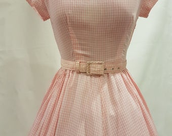 1950s Soft Pink Gingham Day Dress
